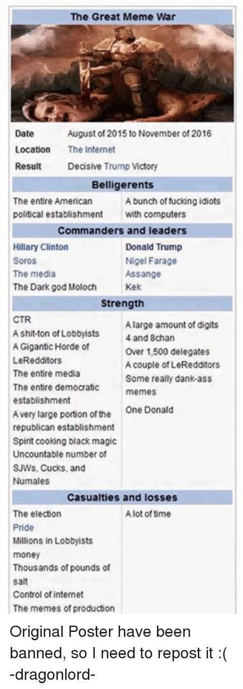 Democrat Memes: The Great Meme War  Date  August of 2015 to November of 2016  Location  The Internet  Result  Decisive Trump Victory  Belligerents  The entire American  A bunch of fucking idiots  political establishment  with computers  Commanders and leaders  Hillary Clinton  Donald Trump  Soros  Nigel Farage  The media  Assange  The Dark god Moloch  Kek  Strength  CTR  A large amount of digits  A shit ton of Lobbyists  4 and 8chan  A Gigantic Horde of  Over 1,500 delegates  LeRedditors  A couple of LeRedditors  The entire media  Some really dank ass  The entire democratic  memes  establishment  Avery large portion of the  One Donald  republican establishment  Spirit cooking black magic  Uncountable number of  SJWs. Cucks, and  Nu males  Casualties and losses  The election  Alot of time  Pride  Millions in Lobbyists  money  Thousands of pounds of  Salt  Control of internet  The memes of production Original Poster have been banned, so I need to repost it :(   -dragonlord-