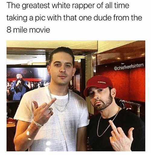 8 Mile, Dude, and Funny: The greatest white rapper of all time  taking a pic with that one dude from the  8 mile movie  @chiefkeefsintern