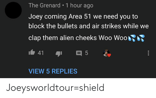 Joeysworldtour: The Grenard 1 hour ago  Joey coming Area 51 we need you to  block the bullets and air strikes while  clap them alien cheeks Woo Woo  41  E 5  VIEW 5 REPLIES Joeysworldtour=shield