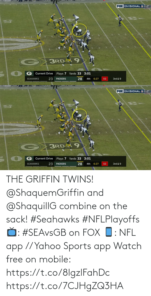 combine: THE GRIFFIN TWINS!  @ShaquemGriffin and @ShaquillG combine on the sack! #Seahawks #NFLPlayoffs  📺: #SEAvsGB on FOX 📱: NFL app // Yahoo Sports app Watch free on mobile: https://t.co/8lgzlFahDc https://t.co/7CJHgZQ3HA