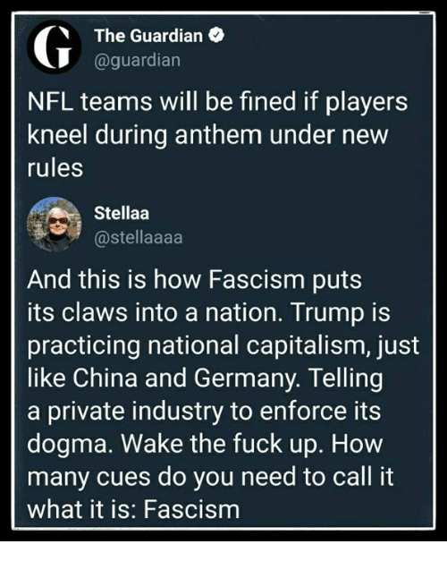 Memes, Nfl, and China: The Guardian  @guardian  NFL teams will be fined if players  kneel during anthem under new  rules  Stellaa  @stellaaaa  And this is how Fascism puts  its claws into a nation. Trump is  practicing national capitalism, just  like China and Germany. Telling  a private industry to enforce its  dogma. Wake the fuck up. How  many cues do you need to call it  what it is: Fascism