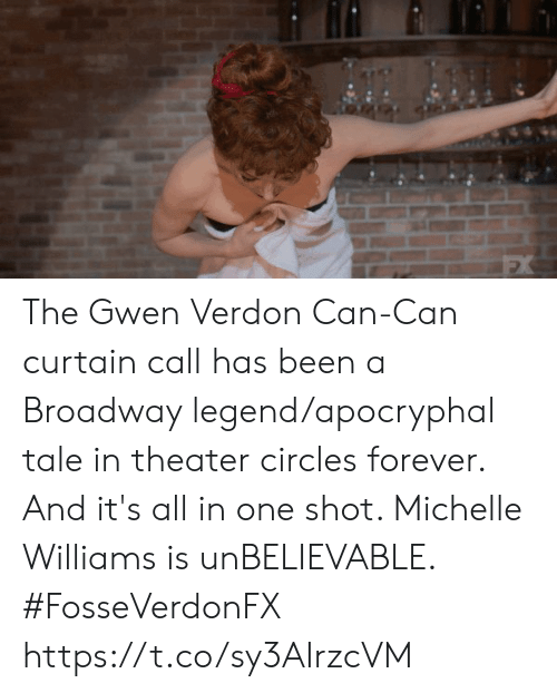 one shot: The Gwen Verdon Can-Can curtain call has been a Broadway legend/apocryphal tale in theater circles forever. And it's all in one shot. Michelle Williams is unBELIEVABLE. #FosseVerdonFX https://t.co/sy3AIrzcVM