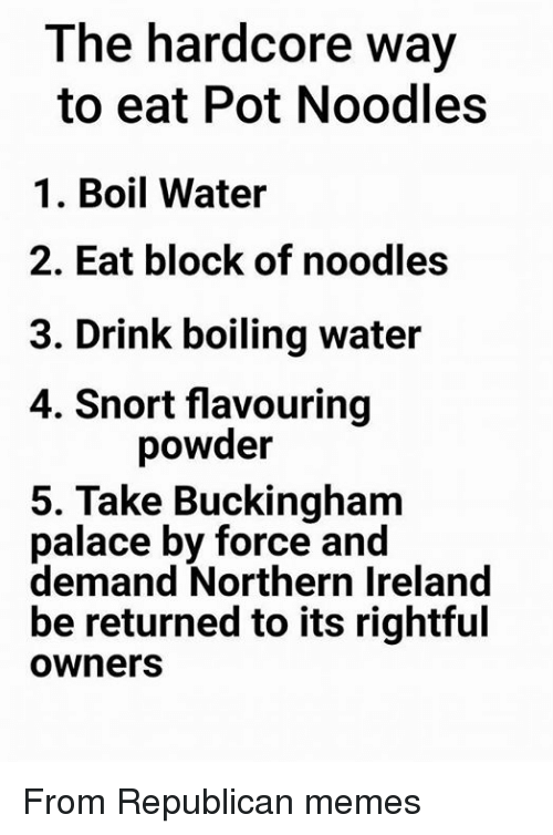 Republican Memes: The hardcore way  to eat Pot Noodles  1. Boil Water  2. Eat block of noodles  3. Drink boiling water  4. Snort flavouring  powder  5. Take Buckingham  palace by force and  demand Northern Ireland  be returned to its rightful  Owners From Republican memes