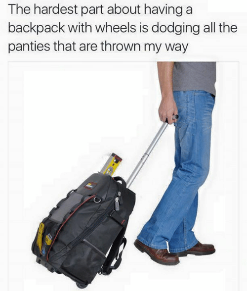 dank: The hardest part about having a  backpack with wheels is dodging all the  panties that are thrown my way