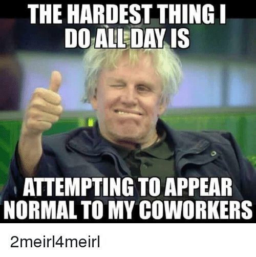 Funny Meme For Coworker : The hardest thing doal day is attempting to appear normal