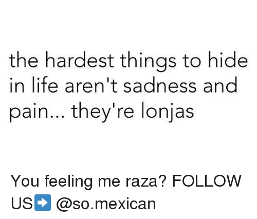 Pained: the hardest things to hide  in life aren't sadness and  pain... they're lonjas You feeling me raza? FOLLOW US➡️ @so.mexican