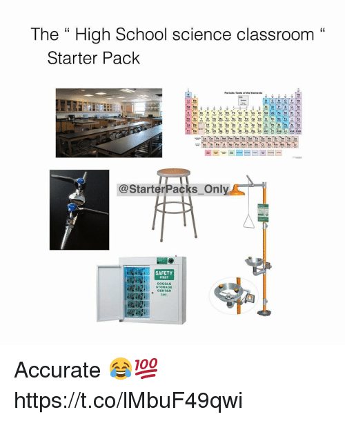 "periodic table: The "" High School science classroom""  C0  Starter Pack  Periodic Table of the Elements  He  Li Be  P SCI Ar  K Ca Sc Ti V Cr Mn F Co NI C ZnGa Ge As SeBr Kr  Rb Sr Y Z Nb Mo Te Ru Rh Pd Ag Cd In Sn Sb TeXe  Eu Gd Tb  @StarterPacks Onl  SAFETY  FIRST  GOGGLE  STORAGE  CENTER  啪 Accurate 😂💯 https://t.co/lMbuF49qwi"