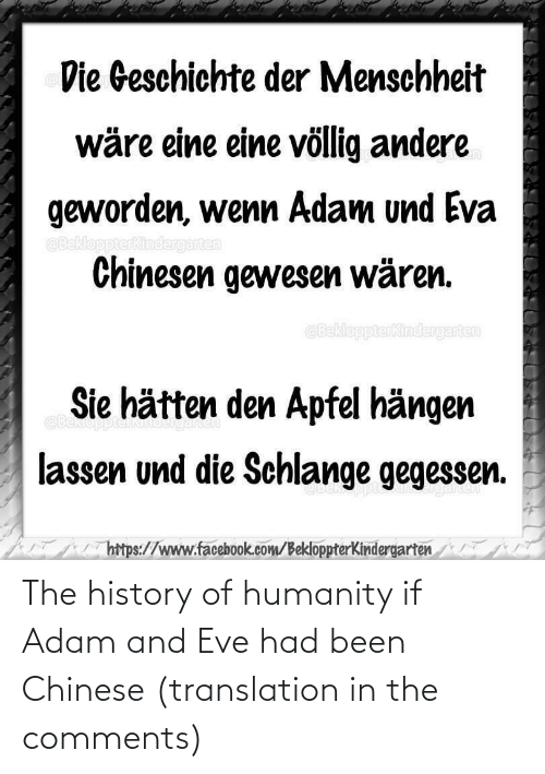 Translation: The history of humanity if Adam and Eve had been Chinese (translation in the comments)
