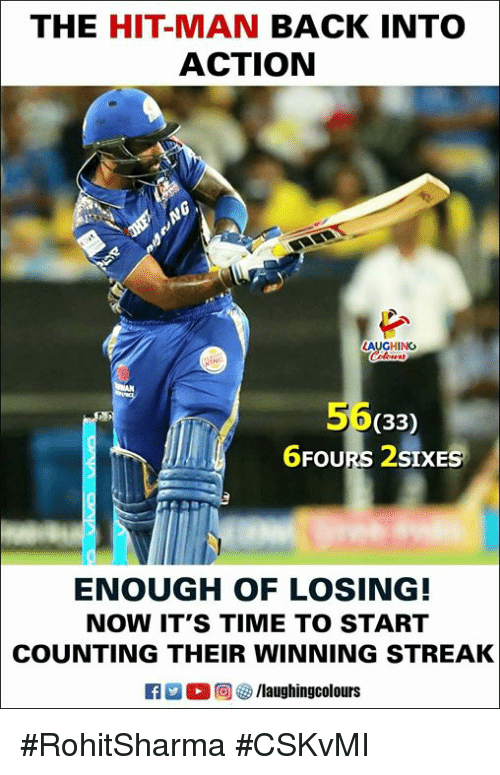 Time, Indianpeoplefacebook, and Back: THE HIT-MAN BACK INTO  ACTION  AUGHING  56  6FOURS 2SIXES  (33  ENOUGH OF LOSING!  NOW IT'S TIME TO START  COUNTING THEIR WINNING STREAK  。回響/laughingcolours #RohitSharma #CSKvMI