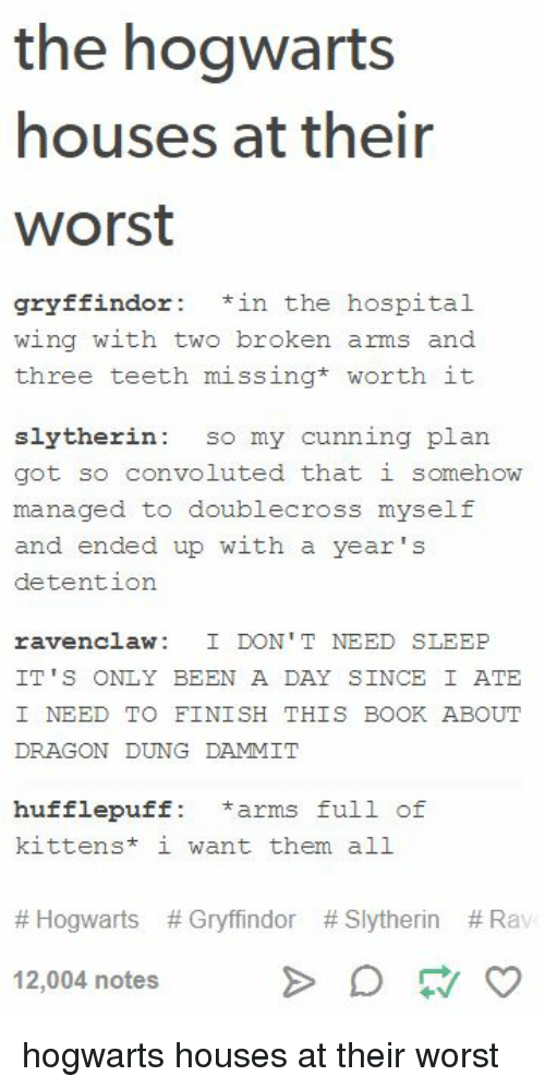 Gryffindor, Slytherin, and Tumblr: the hogwarts  houses at their  Worst  gryffindor in the hospital  wing with two broken arms and  three teeth missing  worth it  slytherin  so my cunning plan.  got so convoluted that i somehow  managed to doublecross myself  and ended up with a year's  detention  ravenclaw: I DON'T NEED SLEEP  IT'S ONLY BEEN A DAY SINCE I ATE  I NEED TO FINISH THIS BOOK ABOUT  DRAGON DUNG DAMMIT  hufflepuff arms full of  kittens i want them all  Hogwarts Gryffindor Slytherin Rav  12,004 notes hogwarts houses at their worst