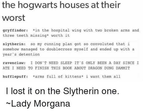 Gryffindor, Memes, and Slytherin: the hogwarts houses at their  worst  gryffindor in the hospital wing with two broken arms and  three teeth missing* worth it  slytherin  so my cunning plan got so convoluted that i  somehow managed to doublecross myself and ended up with a  year's detention  ravenclaw: I DON'T NEED SLEEP IT'S ONLY BEEN A DAY SINCE I  ATE I NEED TO FINISH THIS BOOK ABOUT DRAGON DUNG DAMMIT  hufflepuff: arms full of kittens  i want them all I lost it on the Slytherin one. ~Lady Morgana