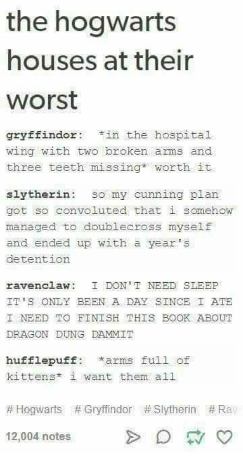 Gryffindor, Slytherin, and Book: the hogwarts  houses at their  worst  gryffindortin the hospital  wing with two broken arms and  three teeth missing* worth it  slytherin: so my cunning plan  got so convoluted that i somehow  managed to doublecross myself  and ended up with a year's  detention  ravenclaw: DON 'T NEED SLEEP  IT'S ONLY BEEN A DAY SINCE I ATE  I NEED TO FINISH THIS BOOK ABOUT  DRAGON DUNG DAMMIT  hufflepuff: *arms full of  kittens* i want them all  #Hogwarts # Gryffindor # Slytherin #Rav  12,004 notes  > D