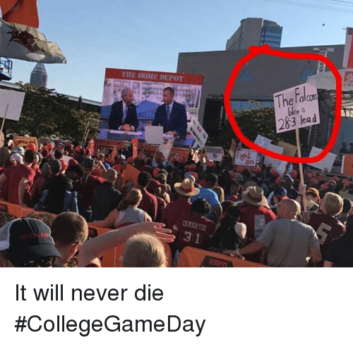 Nfl, Home, and Home Depot: THE HOME DEPOT  The ralcm  283 lead  ght  on  3 1 It will never die #CollegeGameDay