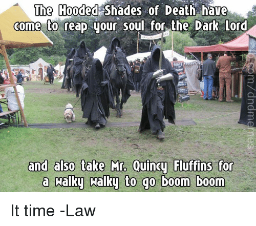 Death, Time, and DnD: The Hooded Shades of Death have  come to reap your soul for the Dark Lord  3  ins for  a halky aalky to go boom boom It time  -Law