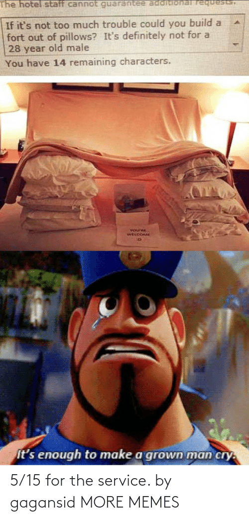 pillows: The hotel staff cannot requests,  If it's not too much trouble could you build a  fort out of pillows? It's definitely not for a  28 year old male  You have 14 remaining characters.  YOurRE  WELCOME  It's enough to make a grown man cry. 5/15 for the service. by gagansid MORE MEMES