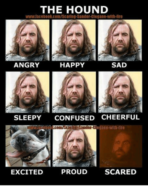 The Hound: THE HOUND  www.facebook.com/Scaring-Sandor-Clegane-with-lire  ANGRY  HAPPY  SAD  SLEEPY  CONFUSED CHEERFUL  th Ire  EXCITED  PROUD  SCARED