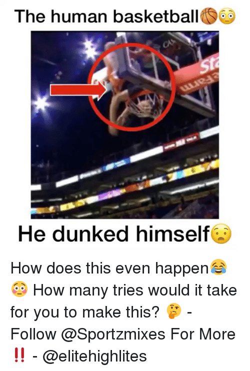Basketball, Memes, and 🤖: The human basketball  He dunked himself How does this even happen😂😳 How many tries would it take for you to make this? 🤔 - Follow @Sportzmixes For More‼️ - @elitehighlites