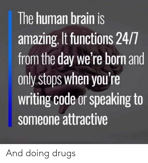 Drugs: The human brain is  amazing. It functions 24/7  from the day we're born and  only stops when you're  writing code or speaking to  someone attractive And doing drugs