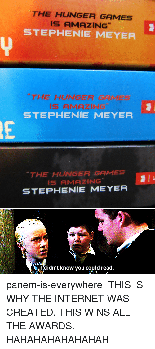 """Hahahahahahahah: THE HUNGER GAMES  IS AMAZING  STEPHENIE MEYER  THE HUNGER GAMES  STEPHENIE MEYER  THE HUNGER GAMES  IS AMAZING""""  STEPHENIE MEYER   Ididn't know you could read panem-is-everywhere:   THIS IS WHY THE INTERNET WAS CREATED. THIS WINS ALL THE AWARDS.  HAHAHAHAHAHAHAH"""