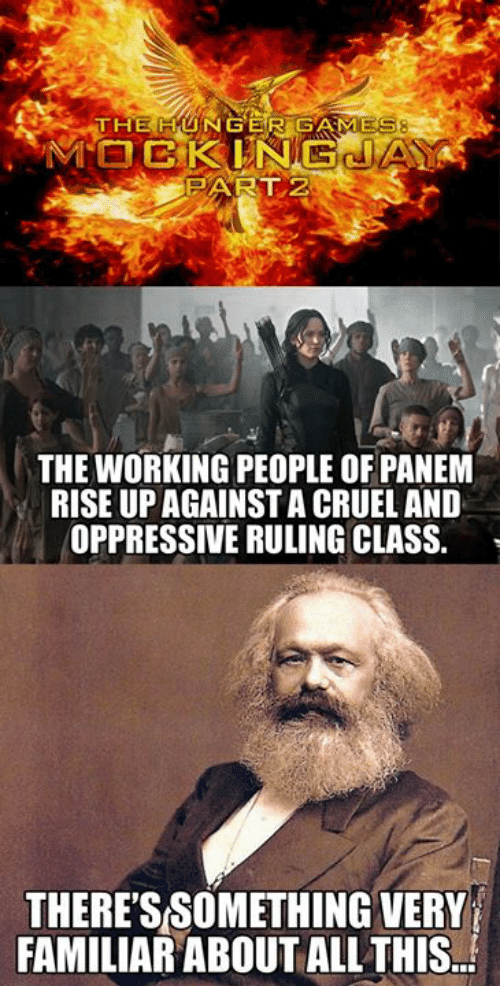 panem: THE HUNGER GAMES  PART 2  THE WORKING PEOPLE OF PANEM  RISE UP AGAINST A CRUEL AND  OPPRESSIVE RULING CLASS.  THERESSOMETHING VERY  FAMILIAR ABOUT ALL THIS