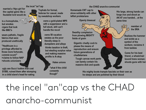 "plated: the incel ""an""cap  the CHAD anarcho-communist  married a 14yo girl for  the capital gains like a  Homemade CNT cap to  show solidarity with other  leftist proletarians  Tophats for formal,  fedoras for casual, made  His large, strong hands can  forge iron and shoot an  AK-47 one handed... at the  feudalist lord would do  by sweatshop workers  Openly bisexual  owns a gold-plated MP5  with a suppressor and a  full stock, still can't  handle the recoil  is a homophobe,  same time  but smokes  member of  cigars that look  like BBC's  the SRA  Swarthy complexion  from plowing MIGHTY  fields of grain  owns 50 vacation  wears pathetic, fragile  fabrics that were  Realizes the hammer  estates as the poor  literally sleep in  dumpsters and alleys  and sickle as a  produced unethically  symbol of the  workers; reclaims it  Gigantic chadly cock to  please the means of  ""Healthcare is a  thinks taxation is theft,  from tankies  privilege afforded to  those more fortunate,  reproduction and ensure  future generations of  but stealing surplus value  and making massive  profits is A-okay  Cares for his best  commie scum!""  chadletarians  friend, a wheelchair  bound trans woman;  >claims to follow NAP  Tough canvas work pants  can barely contain his  massive dick and quads  >shoots unionizers  shoots guns with her  Hates unions  ""what if the child  ugly ass Gucci loafers that cost  $1500, ruined them after stomping  in a child slave's head for eating  consents  His mighty boots trample fascists on their own as  he sleeps and are polished by their blood  though"" the incel ""an""cap vs the CHAD anarcho-communist"