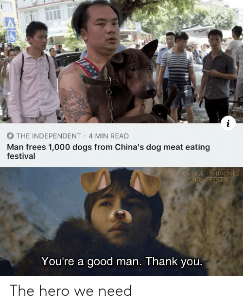 Festival: THE INDEPENDENT 4 MIN READ  Man frees 1,000 dogs from China's dog meat eating  festival  MEOHRONES  SHAMΕΡ) ΤΙΝΟ  You're a good man. Thank you. The hero we need