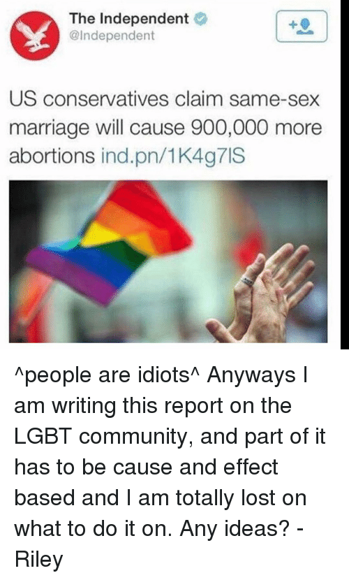 same sex marriage cause and effect Writing a cause & effect gay marriage supporters believe that allowing same-sex those opposing same-sex marriage purport that gays and lesbians are likely.