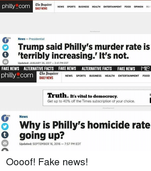 Memes, September 16, and 🤖: The Inquirer  philly com  NEWS  SPORTS  BUSINESS  HEALTH  ENTERTAINMENT FooD  OPINION REA  DAILY NEWS  News  Presidentia  Trump said Philly's murder rate is  'terribly increasing.' It's not.  Updated: JANUARY 26, 2017-2:41 PM EST  FAKE NEWS AITERNATIVE FACTS FAKE NEWS AATERNATIVE FACTS FAKE NEWS MILO  Inquirer  philly com  NEWS SPORTS  BUSINESS  HEALTH  ENTERTAINMEN  FOOD  DAILY NEWS  Truth. It's vital to democracy.  Get up to 40% off the Times subscription of your choice.  656 News  G Why is Philly's homicide rate  going up?  Updated: SEPTEMBER 16, 2016 -7:57 PM EDT Oooof! Fake news!