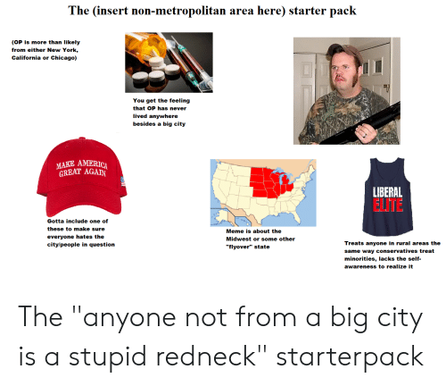 "Insert Here: The (insert  here) starter pack  n-metropolitan  non  area  (OP is more than likely  from either New York,  California or Chicago)  You get the feeling  that OP has never  lived anywhere  besides a big city  MAKE AMERICA  GREAT AGAIN  LIBERAL  ELITE  Gotta include one of  these to make sure  Meme is about the  everyone hates the  Midwest or some other  Treats anyone in rural areas the  city/people in question  ""flyover"" state  same way conservatives treat  minorities, lacks the self-  awareness to realize it The ""anyone not from a big city is a stupid redneck"" starterpack"