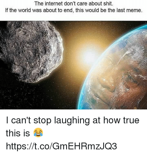 Blackpeopletwitter, Internet, and Meme: The internet don't care about shit.  If the world was about to end, this would be the last meme. I can't stop laughing at how true this is 😂 https://t.co/GmEHRmzJQ3