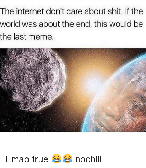 Funny, Internet, and Lmao: The internet don't care about shit. If the  world was about the end, this would be  the last meme. Lmao true 😂😂 nochill