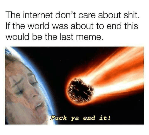Meme Fuck: The internet don't care about shit.  If the world was about to end this  would be the last meme.  Fuck ya end it!