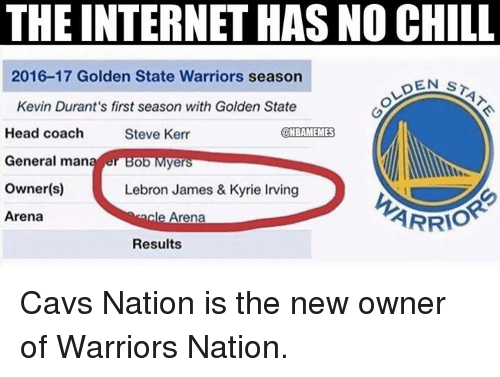Cavs, Chill, and Internet: THE INTERNET HAS NO CHILL  2016-17 Golden State Warriors season  DEN ST  Kevin Durant's first season with Golden State  Head coach  Steve Kerr  NBAMEMES  General man  ye  owner(s)  Lebron James & Kyrie Inving  ARRIO  Arena  Arena  Results Cavs Nation is the new owner of Warriors Nation.
