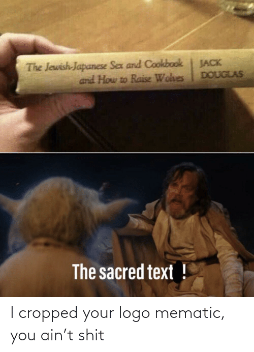sacred: The Jewish-Japanese Sex and Cookbook  and How to Raise Wohes  JACK  DOUGLAS  The sacred text ! I cropped your logo mematic, you ain't shit