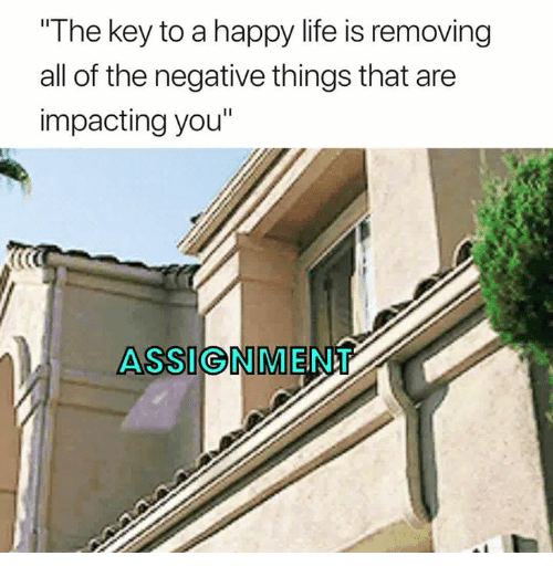 """Life, Happy, and All of The: The key to a happy life is removing  all of the negative things that are  impacting you""""  ASSIGNMENT"""