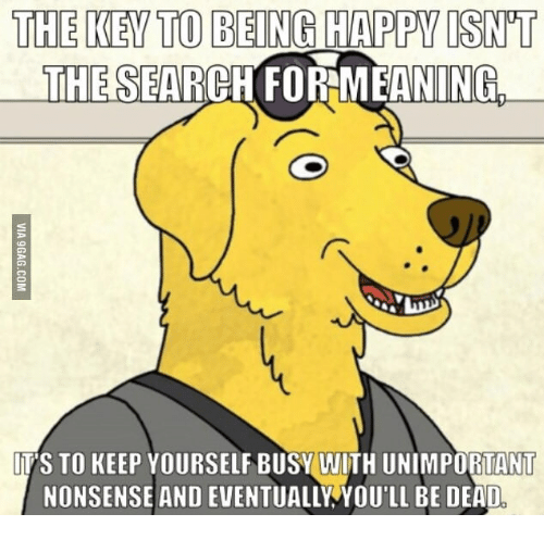 Keep Yourself Busy To Stay Happy Quotes: The KEY TO BEING HAPPY ISNT InHE SEARCH FORMEANINGL IT'S