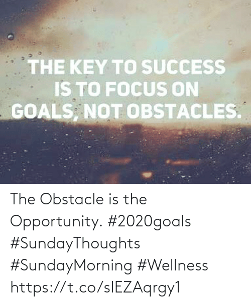 key to success: THE KEY TO SUCCESS  IS TO FOCUS ON  GOALS, NOT OBSTACLES. The Obstacle is the Opportunity.  #2020goals #SundayThoughts  #SundayMorning #Wellness https://t.co/sIEZAqrgy1