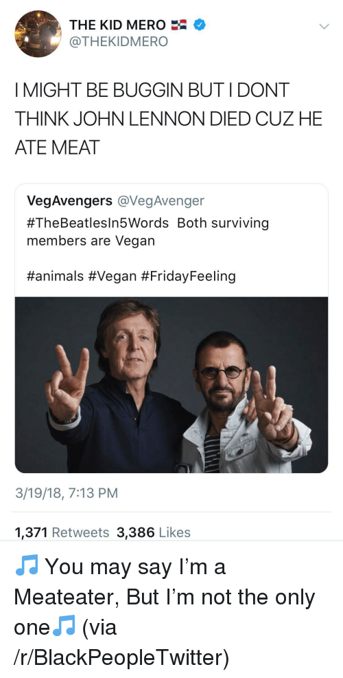 Buggin: THE KID MERO  @THEKIDMERO  I MIGHT BE BUGGIN BUT IDONT  THINK JOHN LENNON DIED CUZ HE  ATE MEAT  VegAvengers vegAvenge  #TheBeatlesin5Words Both surviving  members are Vegan  #animals #Vegan #FridayFeeling  3/19/18, 7:13 PM  1,371 Retweets 3,386 Likes <p>🎵 You may say I&rsquo;m a Meateater, But I&rsquo;m not the only one🎵 (via /r/BlackPeopleTwitter)</p>