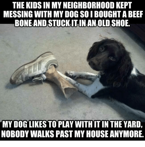 Beef, Dank, and My House: THE KIDS IN MY NEIGHBORHOOD KEPT  MESSING WITH MY DOG SOIBOUGHT A BEEF  BONEAND STUCKIT IN AN OLD SHOE  MY DOG LIKES TO PLAY WITHIT IN THE YARD,  NOBODY WALKS PAST MY HOUSE ANYMORE,