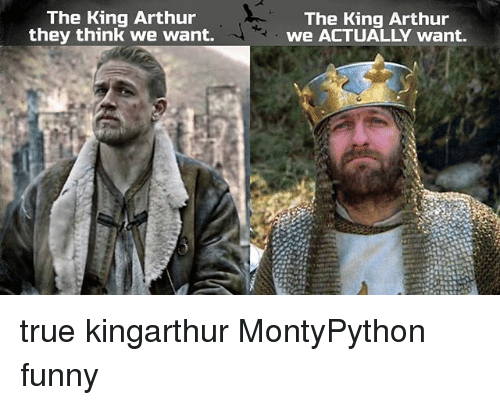 Arthur, Funny, and Memes: The King Arthur  The King Arthur  they think we want.  we ACTUALLY want. true kingarthur MontyPython funny