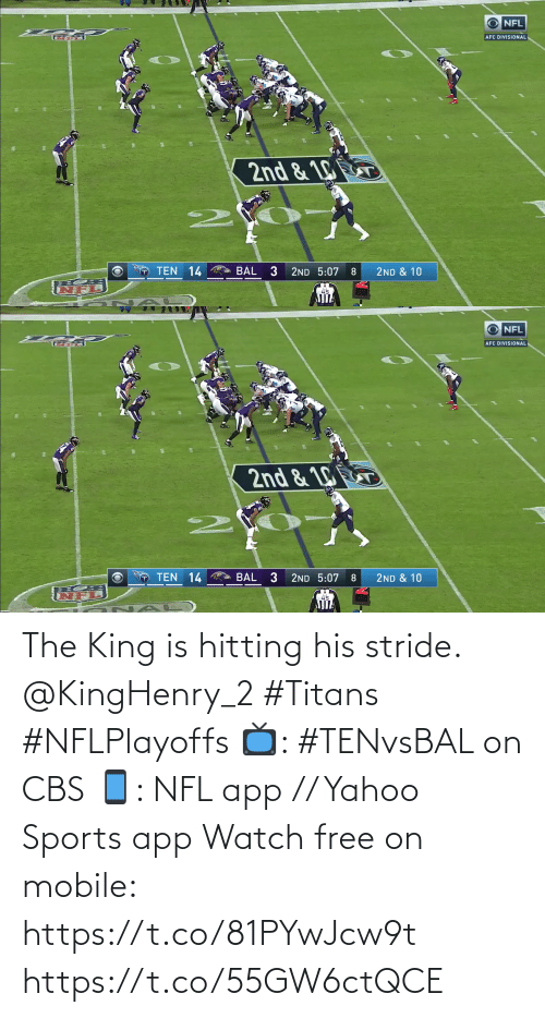 hitting: The King is hitting his stride. @KingHenry_2 #Titans #NFLPlayoffs  📺: #TENvsBAL on CBS 📱: NFL app // Yahoo Sports app Watch free on mobile: https://t.co/81PYwJcw9t https://t.co/55GW6ctQCE