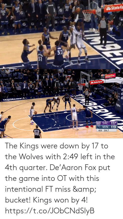 kings: The Kings were down by 17 to the Wolves with 2:49 left in the 4th quarter.   De'Aaron Fox put the game into OT with this intentional FT miss & bucket!   Kings won by 4!    https://t.co/JObCNdSlyB