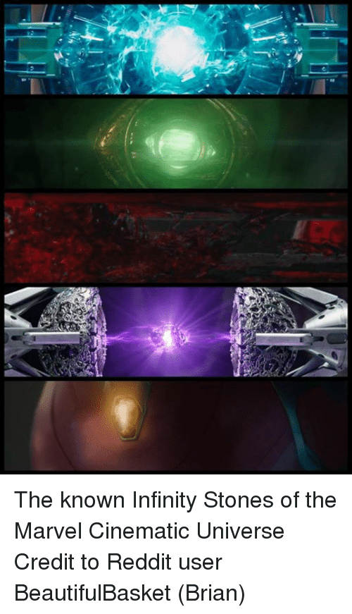 Memes and 🤖: The known Infinity Stones of the Marvel Cinematic Universe Credit to Reddit user BeautifulBasket  (Brian)