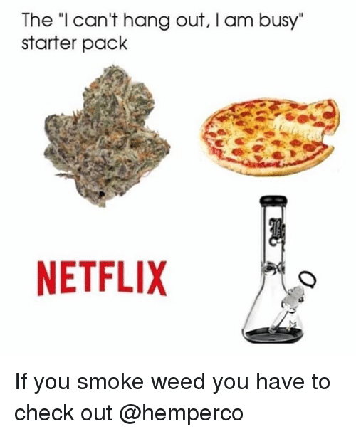 "Netflix, Weed, and Starter Pack: The ""l can't hang out, I am busy""  starter pack  NETFLIX If you smoke weed you have to check out @hemperco"