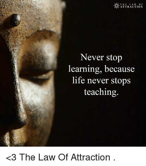 memes: THE  LA W  OF  ATTRACTION  Never stop  learning, because  life never stops  teaching <3 The Law Of Attraction  .