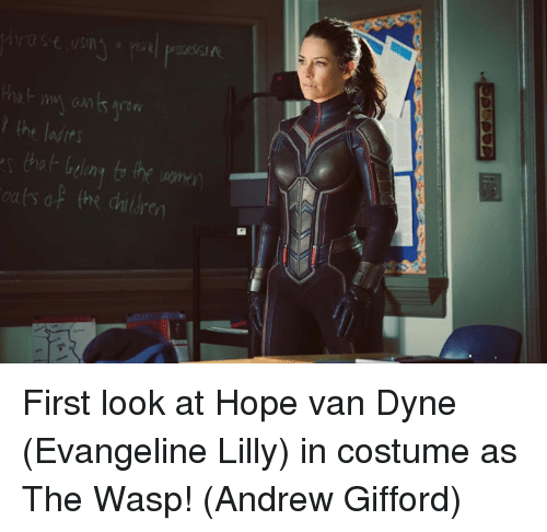 Memes, Hope, and Evangeline Lilly: the ladits  ats of the dailre First look at Hope van Dyne (Evangeline Lilly) in costume as The Wasp!  (Andrew Gifford)
