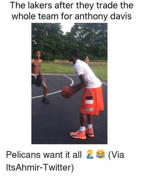 Anthony Davis: The lakers after they trade the  whole team for anthony davis Pelicans want it all 🤦♂️😂 (Via ItsAhmir-Twitter)