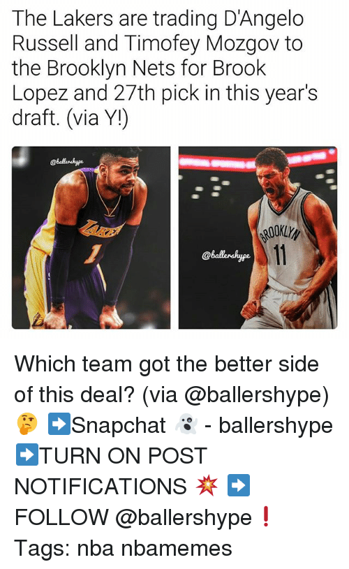 Brooklyn Nets, Los Angeles Lakers, and Nba: The Lakers are trading D'Angelo  Russell and Timofey Mozgov to  the Brooklyn Nets for Brook  Lopez and 27th pick in this year's  draft. (via Y!)  @Balaerskype. Which team got the better side of this deal? (via @ballershype)🤔 ➡Snapchat 👻 - ballershype ➡TURN ON POST NOTIFICATIONS 💥 ➡ FOLLOW @ballershype❗ Tags: nba nbamemes