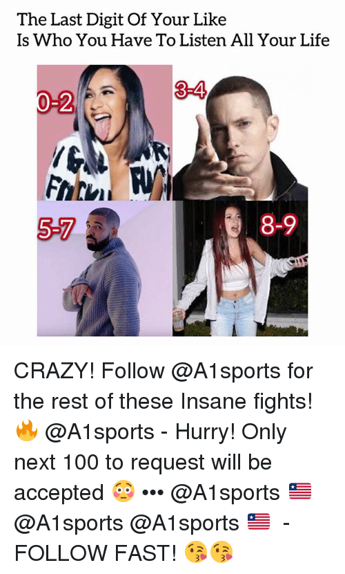 Anaconda, Crazy, and Life: The Last Digit Of Your Like  Is Who You Have To Listen All Your Life  3-4  -2  5-7  8-9 CRAZY! Follow @A1sports for the rest of these Insane fights!🔥 @A1sports - Hurry! Only next 100 to request will be accepted 😳 ••• @A1sports 🇱🇷 ➟ @A1sports @A1sports 🇱🇷 ➟ - FOLLOW FAST! 😘😘