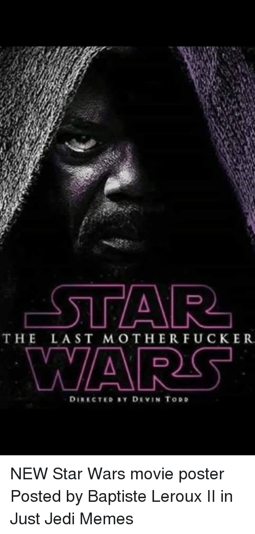 Jedi, Memes, and Star Wars: THE LAST MOTHERFUCKER  DIRECTED SY DIVIN TODD NEW Star Wars movie poster  Posted by Baptiste Leroux II in Just Jedi Memes